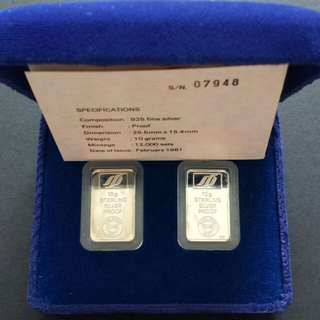 1981 Singapore 富贵康寕 Sterling Silver Proof Bars