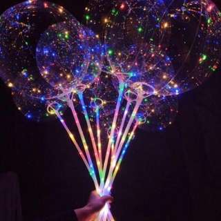 """18""""/24"""" Clear Bubble Balloons with LED and stick"""