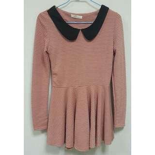 圓領立體條紋粉藕色長袖洋裝