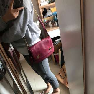 Coach 棗紅leather bag