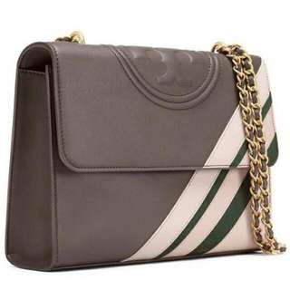 Authentic Tory Burch Fleming Convertible Dark Nicotine Stripes Bag