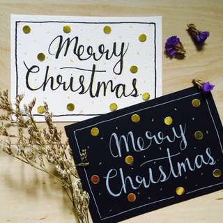 Handmade Cards Christmas Typography Names Quotes Customized Black White