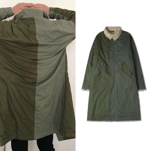 1523 Agari 立體 拼接 羊毛 加厚 加長 軍綠 大衣 風衣
