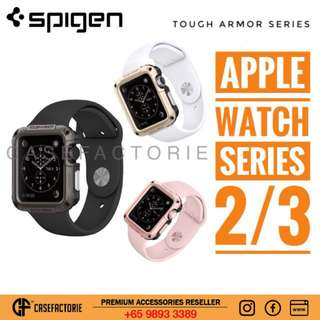 Spigen Tough Armor Apple Watch Series 3/2 42mm Shock Proof Case Cover Strap Band With Screen Protector