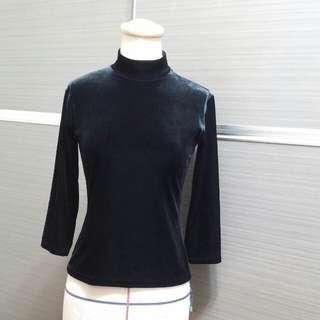 黑絲絨7分袖上衣