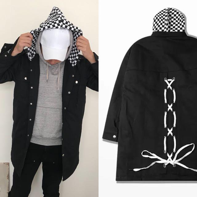 1530 Agari 連帽 加絨 棉 後 綁帶 長袖 加長款 外套 大衣
