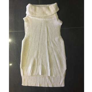Seed White sparkly knit singlet turtle neck