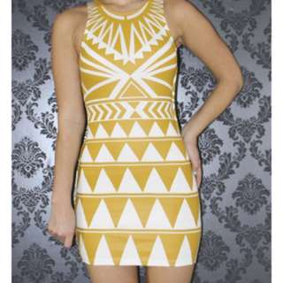$60 BNWT - MIKA & GALA - STUNNING BODYCON DRESS. AZTEC PRINT IN MUSTARD YELLOW