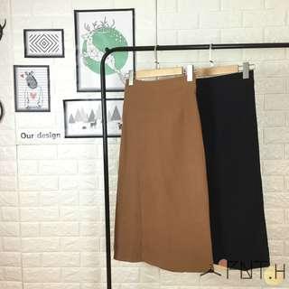A11高腰小開衩麂皮裙
