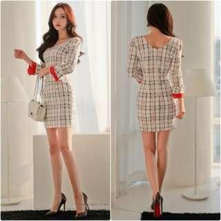 洋裝A6085韓國名媛 V領拼接撞色連衣裙