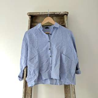 Blue Collared Button-up Loose-fitting Blouse