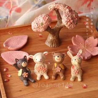 🚚 🐰(現貨)新年賀禮櫻花系日本zakka櫻花季仰望天空動物系列🐰情人節禮物布置擺設家居裝飾禮物多肉植物工藝品居家裝飾玩偶