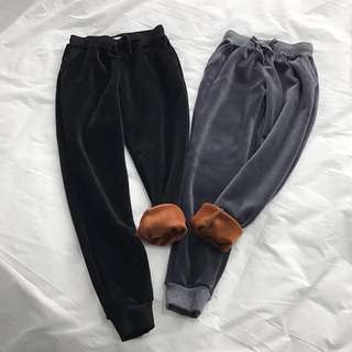 OshareGirl 12 美單純色秋冬加厚絲絨褲寬鬆加絨休閒長褲