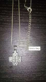 "Brand New ""Lavishy"" Silver Necklace with Decorative Cross"