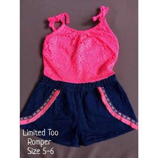 Limited Too pink and navy romper for kids