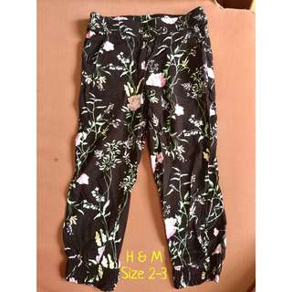H&M black floral joggers for kids