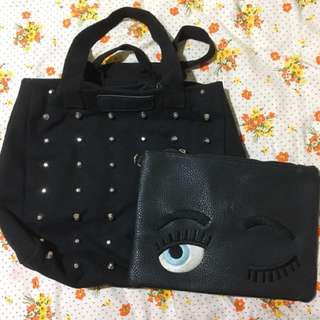 Black studded bag with free pouch! :)