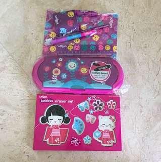 Brand New Smiggle matching gift set (free eraser set)