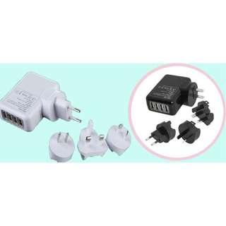 [旅行轉換插頭USB充電器] 旅行/出差必備首選,附有4個轉換插頭,適合大部份國家使用,輕型小巧,方便攜帶