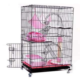 Improved Side Door Design Free Gift Set upgraded -3 tier cat cage - foldable / collapsible Iron frame