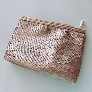 $50/1個 Chantecialle makeup bag medium size 玫瑰金珠片化妝袋 中size bling bling