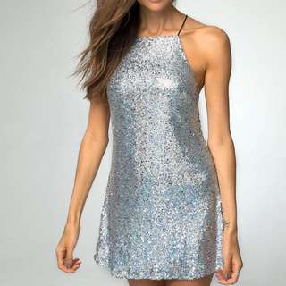 Motel silver sequin dress
