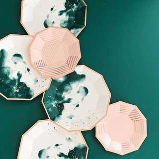 Dark Green Watercolor Large Paper Plates