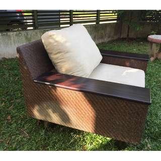 Resort-style rattan armchair