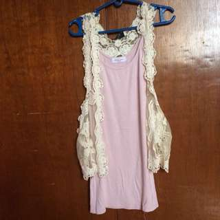 Pastel pink tank top with crochet vest