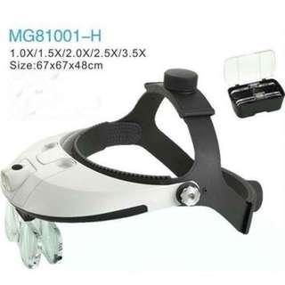 LED Illuminated Helmet Light Magnifier Adjustable Dental Magnifying Glass Loupe