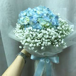 Blue Hydrangea and white Baby Breath Hand Bouquet