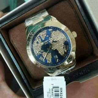 Layton Blue Crystal Pave Dial Gold-tone Ladies WatchItem No. MK6243