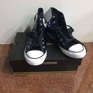 Converse all star 匡威 深藍 亮片 高筒 帆布鞋