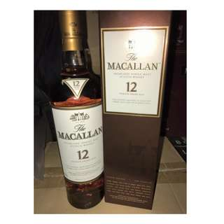 蘇格蘭麥卡倫12年威士忌酒 Macallan Single Malt Scotch Whisky Sherry Oak 700ml