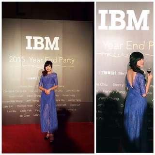 正韓 紫羅蘭蕾絲美背洋裝
