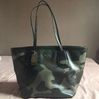 Coach Camo Print Leather Taxi Zip Top Tote