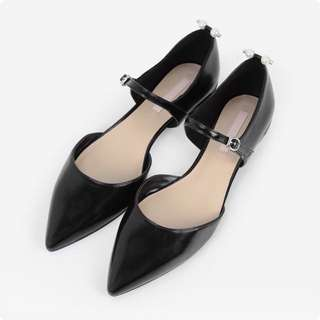 Charles and Keith Pearl Black Pointed Flats