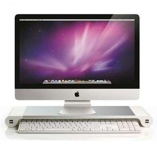 液晶螢幕增高架底座托架 USB充電多功能桌面鍵盤收納架