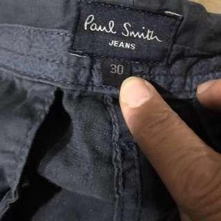 義大利名牌Paul smith長褲、麻、藍、W30吋L102分