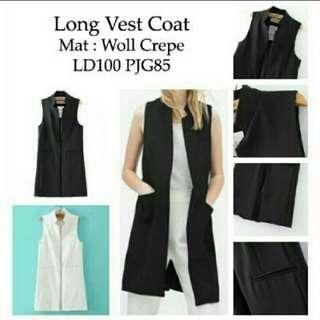 Rompi panjang/long vest casual black & white