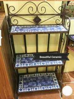 Country Style Ceramic tiles 3 layers Metal Kittchen Rack