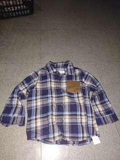 Zara Checkered long sleeved polo shirt
