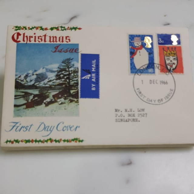 Great Britain 1966 Christmas FDC, Vintage & Collectibles, Stamps & Prints on Carousell