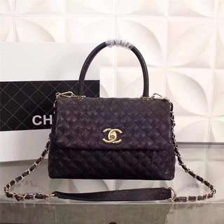 CHANEL CAVIAR LIZARD QUILTED COCO HANDLE FLAP BAG