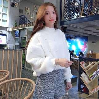 《冬季強力推薦款》韓版寬鬆米白色羊羔毛長袖珍珠上衣