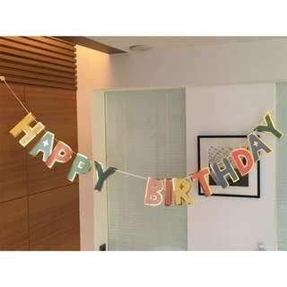 Happy birthday gold lining bunting