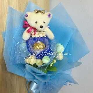 Ferrero Rocher Chocolate & Teddy Bear Bouquet In Blue