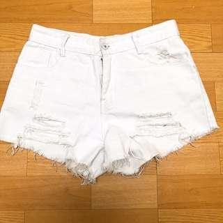 白色破壞短褲M低腰28可以穿#舊愛換新歡