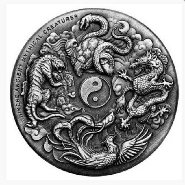 四大神獸銀幣,銀幣,錢幣,收藏錢幣,紀念幣,幣,silver coin,silver~2016年四大神獸銀幣(全球限量1500枚,澳洲柏斯鑄幣廠製造,9999純銀,全新二盎司)(The silver coin 2oz)