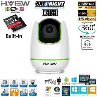 Brand New! 256GB H.VIEW Full HD 1080P 2-Way Audio Wi-Fi IP PTZ CCTV Camera - $65